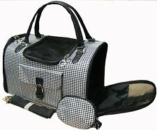New Hounds-tooth Pet Cat Animal Carrier/Tote/Shoulder/Pur se Black/Black-254