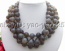 R040212 14MM Faceted Gray Agate Necklace