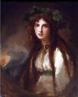 Stunning Oil painting George Romney - Lady Hamilton (as a Bacchante) canvas