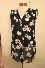 size 12 black chiffon v neck top flower detail dorothy perkins brand new