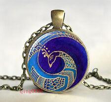 PEACOCK  Cabochon Tibetan Bronze Glass Chain Pendant Necklace