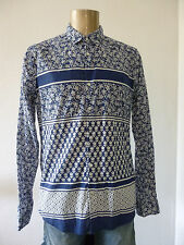 SCOTCH & SODA Amsterdam Print Hemd Shirt weiß blau Gr L normal bis slim neu