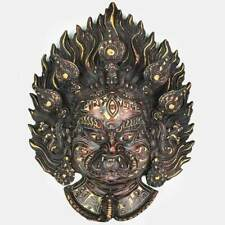 Fiery Bhairav Wall Hanging - Natural Carving
