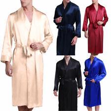 Mens Night Silk Satin Robe Pyjamas Room Bathrobe Robes Long Satin Gown Kimono