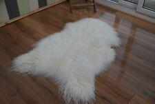Icelandic curly mongolian sheepskin rug white soft wool
