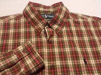 Ralph Lauren Mens Large Custom Fit L/S Button-Down Multicolor Plaid Check Shirt