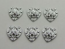 100 Silver Flatback Acrylic Glitter Froal Heart Cabochons 12mm No Hole