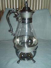 Vintage SHERIDAN SILVER PLATE Coffee/Tea Carafe Holder, Glass Carafe Filter Ball
