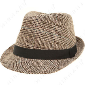 Men's Classic Fashion Short Brim Trilby Structured Gangster Fedora Hat with Band