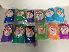 McDonald's 1998 Teenie Beanies Complete Set of 12 Mint in Bags with Sack