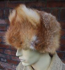 Vintage REAL natural RED  FOX Ushanka  trapper  fur hat size: S 55cm