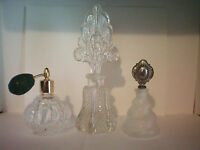 Lot of 3 Glass Perfume Bottles Vintage Collectible Decorations