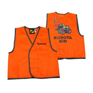 Kubota Branded Kids Hi-vis Orange Vest with Picture on Back