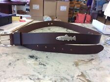 Brown Genuine Leather Belt 42 with Fish Conchos Hunting Outdoors Bass Lure Rod