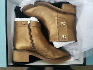 CHANEL Gold Lambskin Leather Turnlock Short Boot Made in ITALY $1500 Sz 40.5