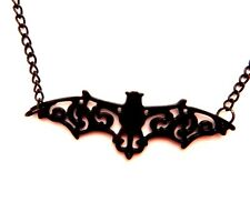 BLACK FILIGREE VAMPIRE BAT NECKLACE chain pendant damask silhouette gothic C3