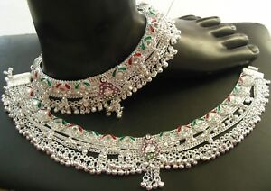 Indian Bridal Payal pure Silver Handmade Anklet Pair 323 Gram 10''Free Ship A 8