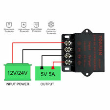 DC-DC 12V/ 24V to 5V 5A Step Down Regulator Module 25W Voltage Converter Meter