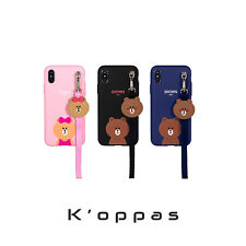 Official LINE FRIENDS Strap Phone Case Jelly Soft Cover for Apple iPhone