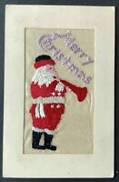 Silk Embroidered~Red Robe SANTA CLAUS ~with Horn~Antique Christmas Postcard~a677