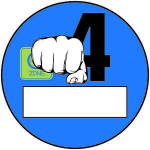2x Euro 4 Plakette Blau Faust Umweltplakette  Feinstaubplakette Spassplakette