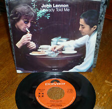 "*<* BEATLES' JOHN LENNON ""NOBODY TOLD ME/O'SANITY"" 1984 CLEAN M- 45/PIC SLEEVE!!"