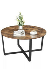 VASAGLE Round Coffee Table, Industrial Style Cocktail Table, Durable Metal Frame