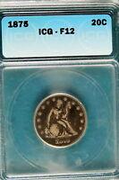 1875 ICG F12 Seated Twenty Cent Pieces!! #B5997