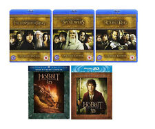 LORD OF THE RINGS HOBBIT 5 MOVIES EXTENDED EDITION Blu Ray Box Set NEW R2