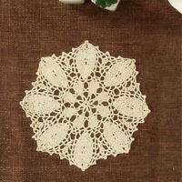 4Pcs/Lot Vintage Hand Crochet Lace Doilies Round Placemats Wedding Party 10inch