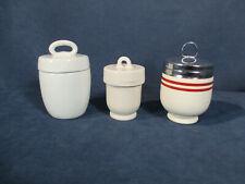 Egg Coddlers Antique Vintage White Ceramic England Lids Set of 3