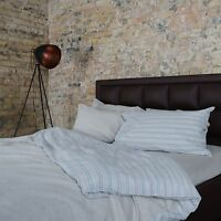 Washed European Flax Linen Blend Duvet Cover Set - Multi-Color Striped and Grey