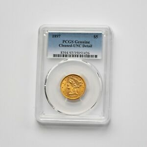 1897 PCGS Genuine Cleaned - UNC Detail USA $5.00 Half Eagle Gold Coin