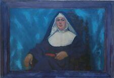 """ORIGINAL OIL ON BOARD  """"SISTER MARY TERESA"""" BY V.P.JENSEN LARGE ARTIST FRAME"""