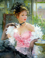 Wall Art Canvas Print Pink lady Oil Painting HD Printed on Canvas L1554