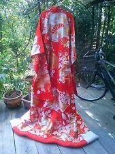 Japanese Antique Kimono Wedding UCHIKAKE Plum flowers Embroidered 100%Silk