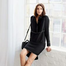 UK 16 Karen Millen Black Top Stitched Shirt Dress Office Day Evening Casual