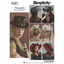 Simplicity 8361 4 Hats, Top Hat Cosplay, Steampunk, Goth Sewing Pattern