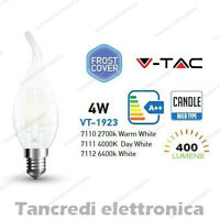 Lampadina led V-TAC 4W = 40W E14 VT-1923 a fiamma bianca filamento opaca candela