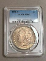 1878-S SILVER $1 DOLLAR BU UNCIRCULATED PCGS MS62 COLOR TONED HIGH GRADE COIN
