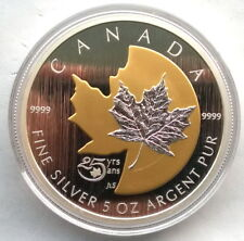 Canada 2013 25 Years of Maple Leaf 50 Dollars Gold Plated 5oz Silver Coin,BU