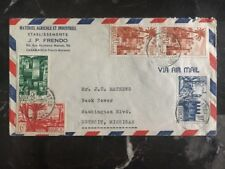 1948 Casablanca Morocco Commercial Cover Agricultural Material To Detroit Usa