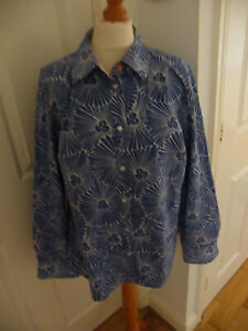 BEAUTIFUL BODEN BLOUSE SHIRT SIZE 20 BLUE & WHITE ALL OVER PATTERN VGC
