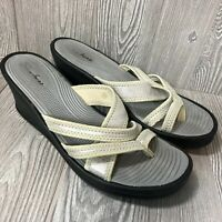 Skechers Women's Gray Slip On Wedge Sandals Size 10