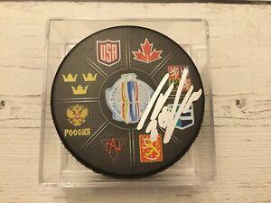 Thomas Vanek Signed Autographed 2016 World Cup of Hockey Puck b