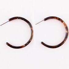 Trendy Resin Acrylic Tortoise Shell Round Circle Hoop Drop Earrings For Women