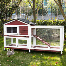 Rabbit Hutch Wooden Bunny House Poultry Animal Cage Chicken Coop with 6 Wheels