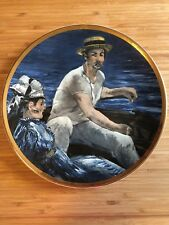 """Classic Art on Porcelain """"Boating"""" Metallic 8 1/2 inch Plate by Edouard Manet"""
