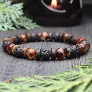 Bracelet Homme perles pierre gemme Agate Motif Tibetain Dzi Bois Cocotier/Coco