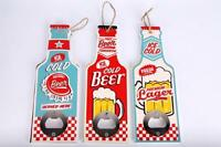 Hanging Novelty Wooden Wall  Bottle Opener Beer Lager Retro Vintage  Mens Gift